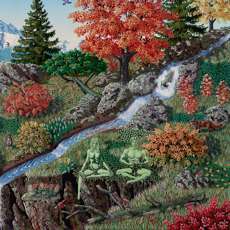 painting of meditators in a psychedelic landscape