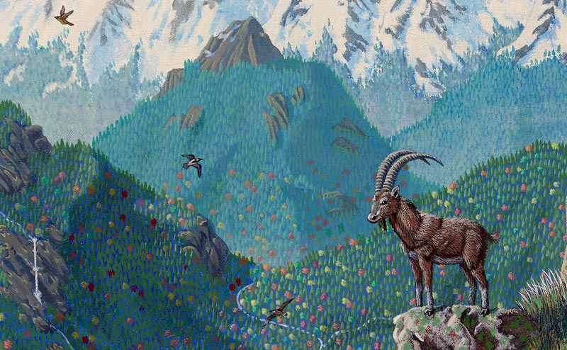 An ibex on a rock, in front of a mountain vista