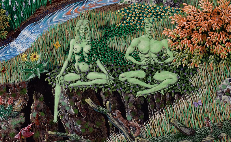 man and woman meditators merging with the environment