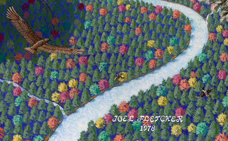 Painted aerial view of trees and eagle, and artist signature